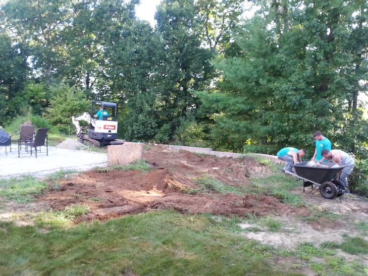 Landscape before retaining wall