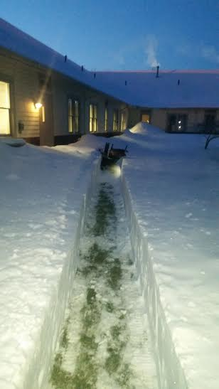 path of a snow blower