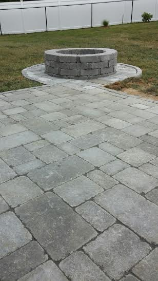Walk way and Fire Pit done by Lola's Landscape